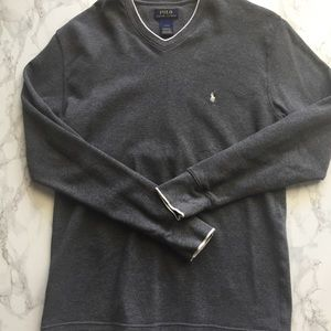 Men's Large Grey Polo Ralph Lauren V Neck Shirt
